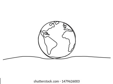 Globe. One line drawing on white background.