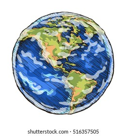 Globe outline colored drawing. Vector illustration  of sketch  world  on white background.