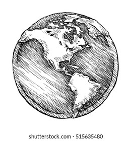 Globe outline drawing. Vector illustration  of sketchy  on white background.