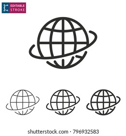 Globe - outline icon on white background. Editable stroke. Vector illustration