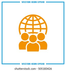 Globe and people icon vector illustration EPS 10.