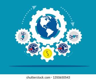 Globe people with money spinning economic. Concept business vector illustration, Coin or money, Direction, Capitalism