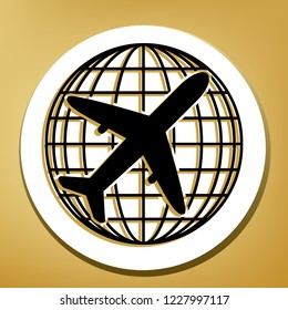 Globe and plane travel sign. Vector. Black icon with light brown shadow in white circle with shaped ring at golden background.