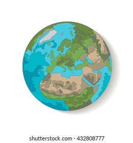 Globe planet earth, a hand-drawn with a diagonal shadow. Vector illustration