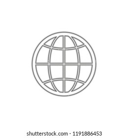 globe, planet. simple silhouette. Dotted outline silhouette with shadow on white background