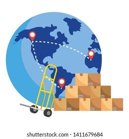 globe with pushcart vector illustration