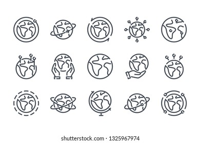 Globe related line icon set. World linear vector illustration collection. Earth outline icons.
