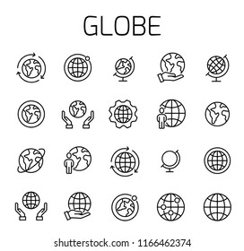 Globe related vector icon set. Well-crafted sign in thin line style with editable stroke. Vector symbols isolated on a white background. Simple pictograms.