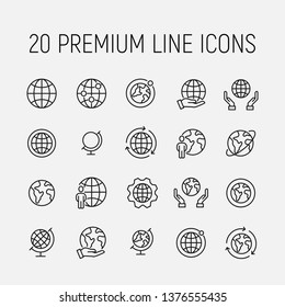 Globe related vector icon set. Well-crafted sign in thin line style with editable stroke. Vector symbols isolated on a white background. Simple pictograms