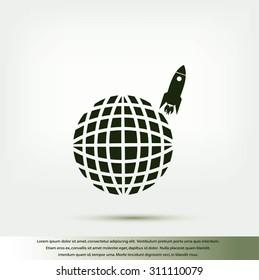 Globe with rocket icon
