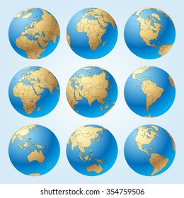 Globe set with with borders of world countries. Easy to select every country and delete contour of borders. Vector illustration