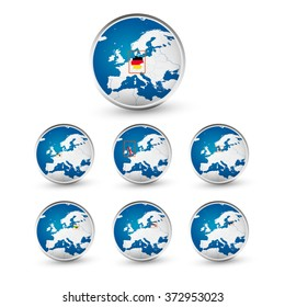 Globe set with EU countries World Map Location Part 2. All elements are separated in editable layers clearly labeled.
