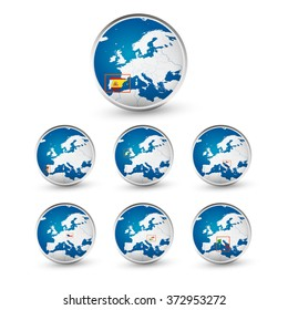Globe set with EU countries World Map Location Part 1. All elements are separated in editable layers clearly labeled.
