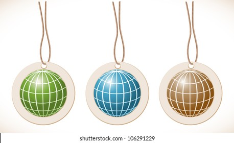 Globe, set of labels with cord