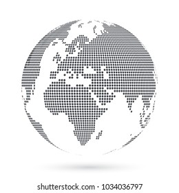 Globe shape, World map created from dots. Vector illustration