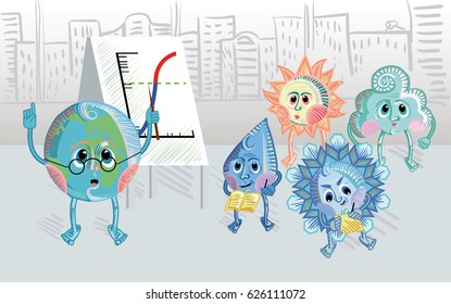 Globe showing graph to sun, cloud, drop and snowflake. Weather, global warming conference, greenhouse effect concept. For geography, meteorology, environment themes