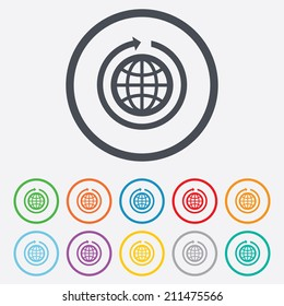Globe sign icon. Round the world arrow symbol. Full rotation. Round circle buttons with frame. Vector