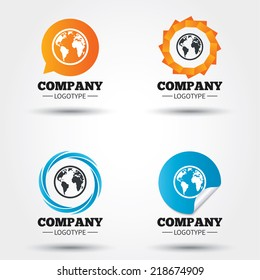 Globe sign icon. World map geography symbol. Business abstract circle logos. Icon in speech bubble, wreath. Vector
