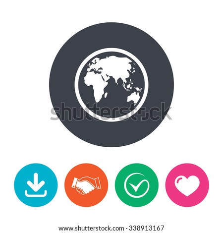 Globe Sign Icon World Map Geography Stock Vector (Royalty Free