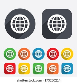 Globe sign icon. World symbol. Circles and rounded squares 12 buttons. Vector