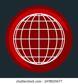 Globe sign illustration. 7 parallels and 7 meridian. White icon with shadow on round red button at dark cyan background. Illustration.