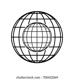 Globe sign illustration. 7 parallels and 7 meridian Vector. Black icon on black globe at white background. Isolated.