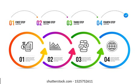 Globe sign. Infographics timeline. Accounting wealth, Phone survey and Investment graph line icons set. Audit report, Mobile quiz test, Investment infochart. Internet world. Education set. Vector