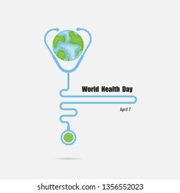 Globe sign and stethoscope vector logo design template.World Health Day icon.World Health Day idea campaign concept.Vector illustration