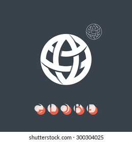 Globe sign, symbol of the Earth global process, logo with its simple outline form. Brand identity symbol. Trendy mono crossed line logo, logotype, icon. Used here typeset is in portfolio as a whole.
