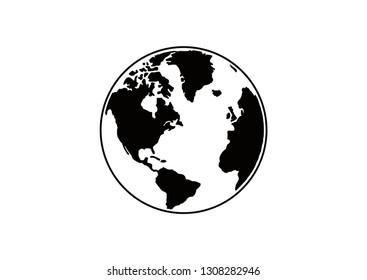 globe silhouette design vector