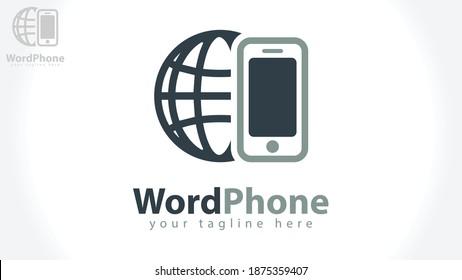 Globe smartphone logo template. Vector