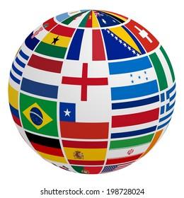 Globe of soccer team flag