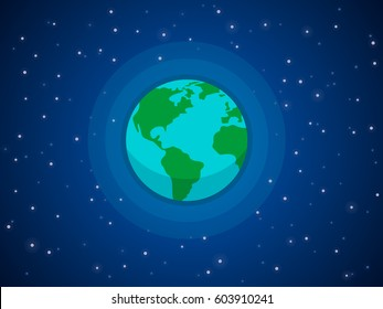 Globe in space. Stars around the planet of the earth against the backdrop of deep space. Vector illustration