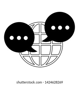 globe and speech bubble with ellipsis icon cartoon vector illustration graphic design