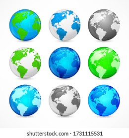 Globe sphere earth set on white, Icon for business, infographic element. Vector illustration.