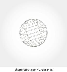 globe sphere, vector illustration