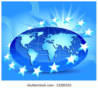 Globe with stars of European Union in orbit, illustration in blue