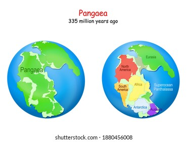 globe with supercontinent Pangaea, modern continental borders, and Superocean Panthalassa. Pangea Maps. Continental drift theory. planet Earth millions years ago. vector illustration for education
