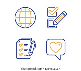 Globe, Survey checklist and Checkbox icons simple set. Heart sign. Internet world, Report, Survey choice. Like rating. Technology set. Linear globe icon. Colorful design set. Vector
