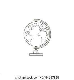 Globe. A symbol of the globe. Linear Vector hand drawn Illustration.