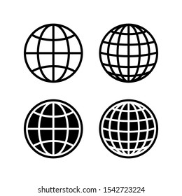 globe symbol silhouette world icon isolated white background