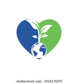 Globe tree with heart vector logo design template. Planet and eco symbol or icon.