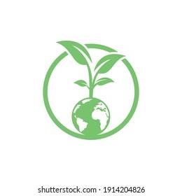 Globe tree vector logo design template. Planet and eco symbol or icon.