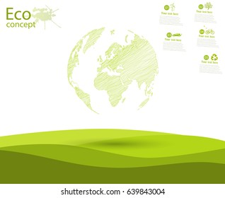 Globe and trees on the green grass. The concept of ecology to save the planet. Eco friendly. Environmentally friendly world. Concept illustration of ecology. Background. Infographics