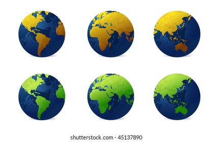 Globe in various continent and colors