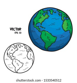 Globe Vector Doodle style Planet Earth, white world isolated background hand drawing world
