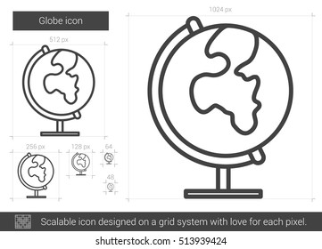 Globe vector line icon isolated on white background. Globe line icon for infographic, website or app. Scalable icon designed on a grid system.
