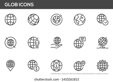 Globe vector line icons set. World map, global business, international communication. Editable stroke. Perfect pixel icons, such can be scaled to 24, 48, 96 pixels.