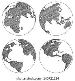 Globe Vector Line Sketched Up Illustrator, EPS 10.