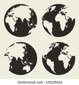 Globe vector silhouette
